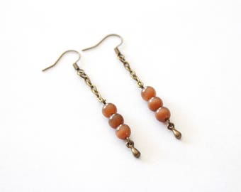 Chain and Brown Pearl Earrings