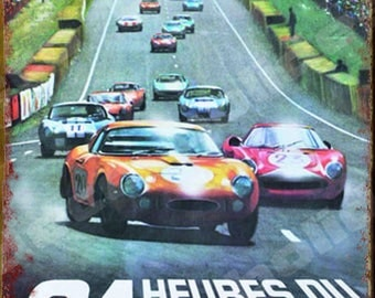 Plate Metal, Reproduction poster 24 hours of Le Mans 1966 by deco cars