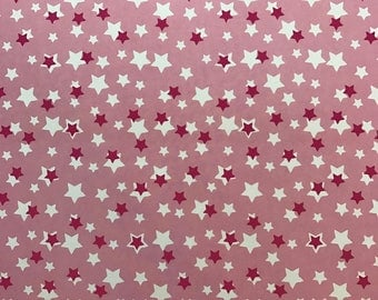 Feuille A4 Papier glacé à motif coloré - Etoiles rose / blanc