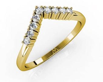 Arrow Ring, 14K - 18K Gold + Diamonds