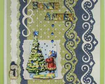 Greeting card happy year little girl and tree Christmas new year-year-