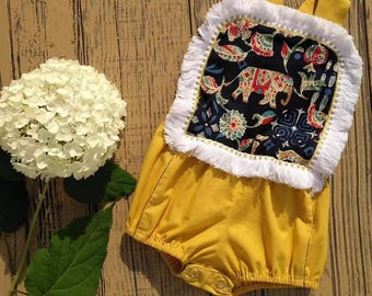 Yellow and White Elephant Late Summer Romper
