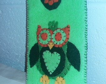 Handcrafted Cell Phone/Eye Glass Case - Owl Green with Orange Head