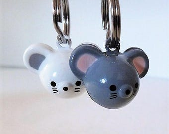 Mouse Bell - Cat Collar Jingle Bell - Brass Mouse Bell in Gray or White