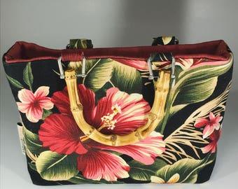 Tiki purse w/ Wooden Handle