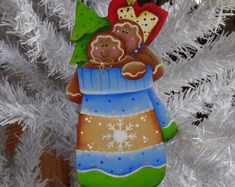 """Gingerbread in their block 2"" wooden Christmas decoration"
