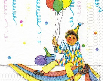 462 LE CLOWN with balloons 1 33 X 33 X 4 design paper napkin