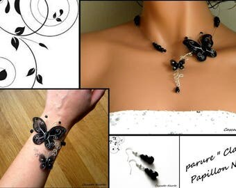 Butterfly silver black Clara bridal Pearl bridal set