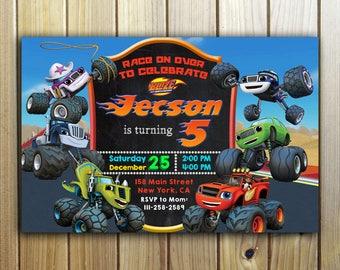 Blaze Invitation, Blaze Birthday, Blaze and The Monster Machines Invitation, Monster Machines, Blaze Party, Blaze Invite,Birthday Invitation