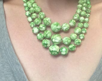 Funky 1950s Paper Mache Beaded Necklace