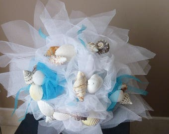 Shells Starfish Beach themed bridal bouquet