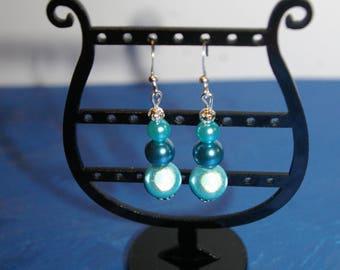 Earrings 3 blue magic pearls