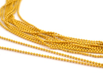 chain 50cm 1.2 mm metal yellow and gold beads