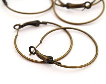 10 earrings 35mm antique bronze hoop earrings