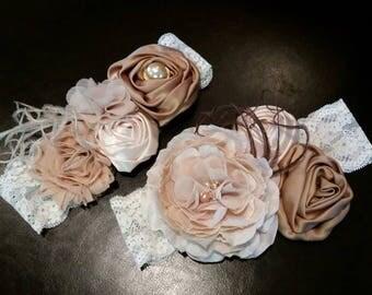 Shabby Chic Lace Flower stretchy headband, bow, wrap, chiffon, pearls, ostrich maribou puff, custom design, photo prop