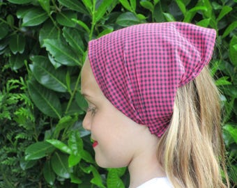 KERCHIEF / scarf for girl black dark pink gingham cotton
