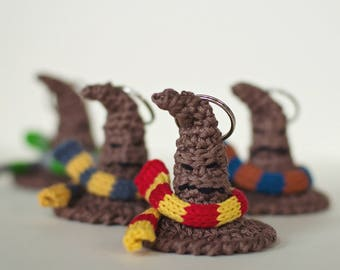 Crochet Sorting Hat w/House Scarf Keychain/Ornament