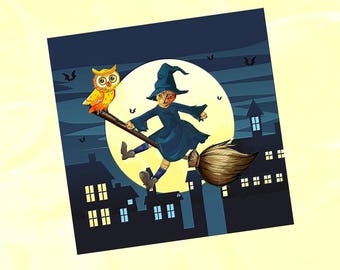 Halloween cat card: my little redheaded witch