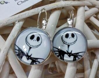 """Earrings """"Jack"""" black and white skeleton bust. 25mm"""