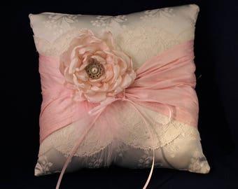 Wedding ring pillow, wedding ring cushion, ring bearer pillow, ring bearer cushion, satin and lace cushion, bridal ring pillow,