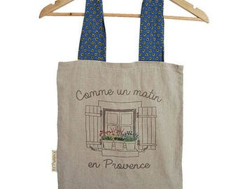 Washed vintage look, linen, natural color tote bag Tote Provence inks Ecolabel blue Provence fabric handles