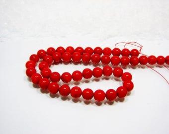 Bamboo coral 8 mm diameter ball. Imitation red Coral Sea bamboo.