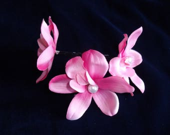 Crochet 3 X pink Orchid hair flower hair accessory