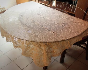 New large doily hand crotheted cotton tablecloth