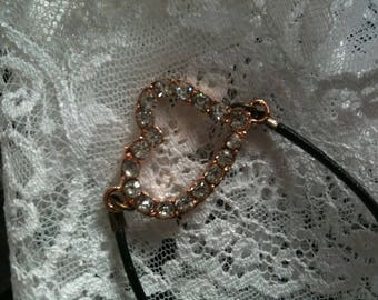 black leather Heart Rhinestone bracelet