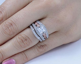 2PC Sterling Silver Cz Rose Gold Wedding Band Engagement Rings Set Sz 3-12 SE77