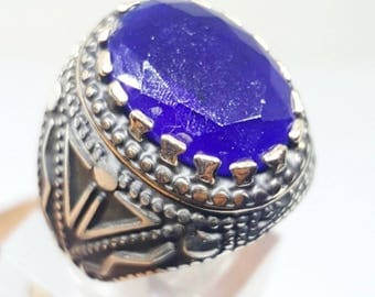 handmade 925 sterling silver men ring blue sapphire ruby stone mans jewelry