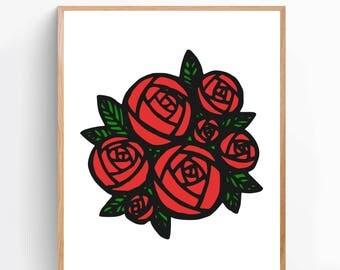 Rose Bouquet Graphic Print, Modern Print, Dorm Decor, Poster, Gift for Mom, Apartment Decor, Home Décor, Wall Art, Print [GR19A]