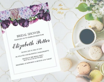 Bridal Shower Invitation With Watercolor Flowers, Bridal Shower Party Invitation, Watercolor Peonies Printable Invitation DIGITAL FILES