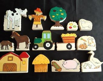 White wooden farm animals