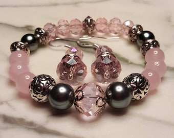 Rose Quartz and Crystal Stretch Bracelet with matching Earrings