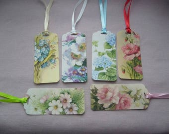 Set of 6 floral labels are handmade with satin ribbons