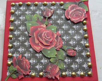 Table Valentine handmade 3 D black and red with glittery red roses
