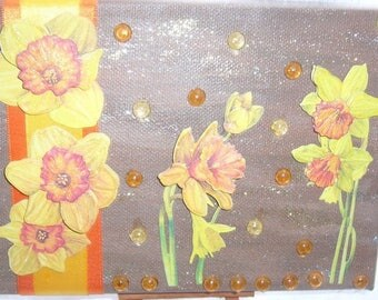 Table handmade 3 D daffodils Brown paint on canvas