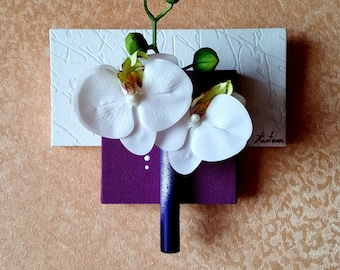 Chalkboard floral purple and white with white orchids
