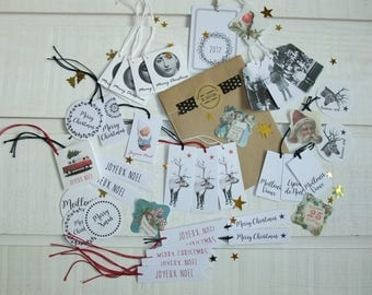 Exceptional set of 37 Christmas white gift tags (n ° 2)