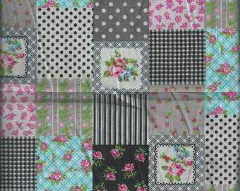 Checkered pink gingham & small dots fabric (coupon 75 x 45 cm) 100% fine cotton