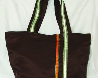 handbag in Brown fabric with green and orange stripe
