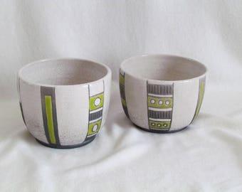 Lime green ethnic enamel firing Raku Bowl