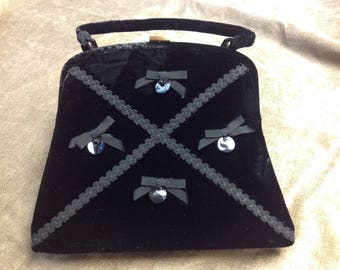 Soure Black Velvet Handbag