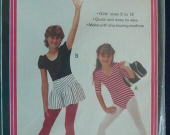Children's  Leotard and Skort, Skirt Pattern - Vintage 1980s Pattern by Patch Press - Sizes 2-12