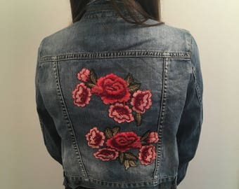 Women's Topshop blue denim embroidered jacket
