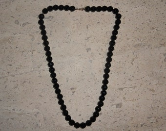 Jet Black Vintage Beaded Faceted Glass Necklace SHIPS FREE Old Hollywood Glam Mod Retro
