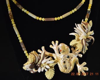 Wearable art frog and flower Necklace