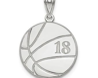 "Personalized Sterling Silver Free Name And Number Laser-Engraved Basketball Pendant Charm 1"" x 1"" Free 16,18,or 20""Sterling Silver Box Chain"