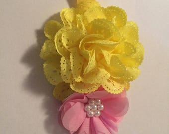 Yellow and pink floral headband